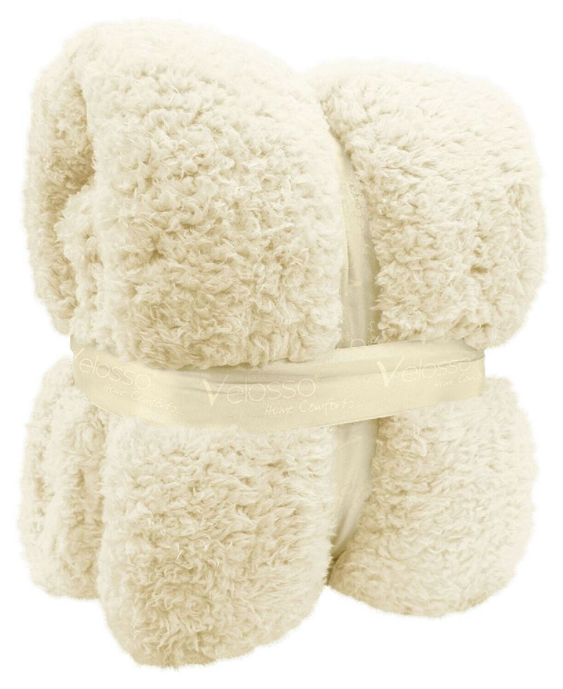 TEDDY BEAR FLEECE SOFT WARM LUXURY THICK CUDDLE THROW PLUSH BLANKET CREAM COLOUR